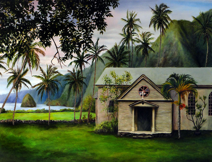 st_philomena_church_catherine_buchanan_molokai_kalaupapa_damien_40x50